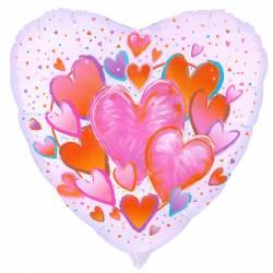Valentijn Helium Ballon met Roze-Rode Hartjes